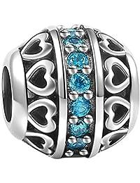 Soufeel Geburtstagstein Kristall Charms Beads 925 Sterling Silber Armband für Halsketten europäische Armbände