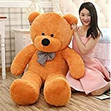 RT SOFT TOYS Big GIANT TEDDY Life Size Stuffed Teddy Bear/Stuffed Spongy Hugable Cute Teddy Bear Cuddles Soft Toy For Kids Birthday / Return Gifts Girls Lovable Special Gift High Quality BROWN 4 Feet With Neck Bow (121 Cm)