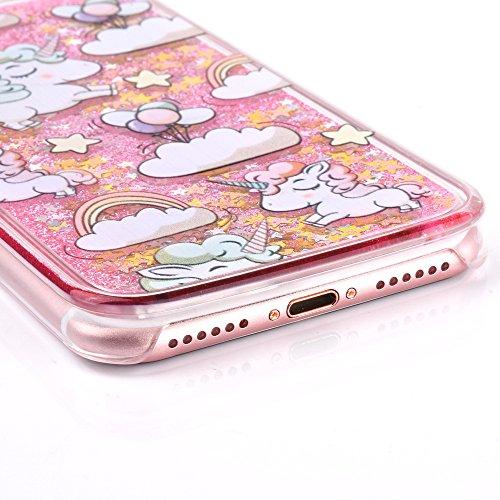 iPhone 7 Silikon Hülle,iPhone 7 Glitzer Hülle,iPhone 7 Transparent Hülle,iPhone 7 Crystal Clear TPU Case Hülle Klare Cristall Silikon Gel Schutzhülle Etui für iPhone 7 4.7 Zoll,EMAXELERS iPhone 7 (4.7 A Unicorn Liquid 1