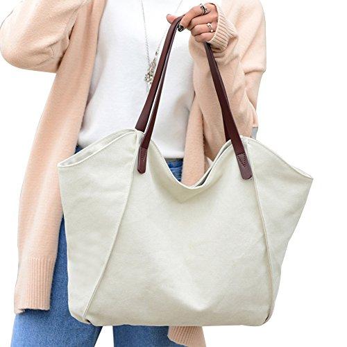 PB-SOAR Damen Canvas Shopper Schultertasche Tasche Handtasche Beuteltasche (Weiß) Weiß