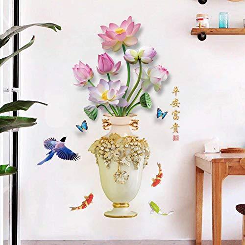 HUDETIE Friedliche Und Reiche Vase Modernen Chinesischen Lotus Wohnzimmer Esszimmer Schlafzimmer Veranda Dekorative Wandaufkleber Selbstklebend (Niedrige Runde Glas-vase)
