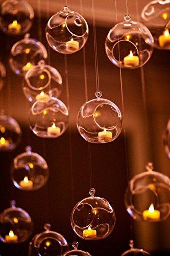 13/10,2cm Aufhängen Glas Globe Kerzenhalter Bulk Verkauf 12Stück (Teelicht Bulk Kerzenhalter)