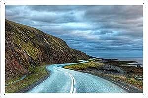 ARMVAS DÉCOR affiche murale du metal fer blanc signe enseignes 20x30cm - Route Autour de l'Islande