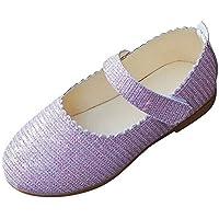 ZODOF Bebé Niños Zapatos Lindos Niñas Sólido Bling Wave Princesa Estudiante Casual Zapatos Casuales(Oro,Púrpura,Plata) 20-35