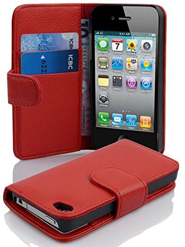 Cadorabo - Etui Housse pour Apple iPhone 4 / 4S / 4G - Coque Case Cover Bumper Portefeuille (avec fentes pour cartes) en ROUGE CERISE