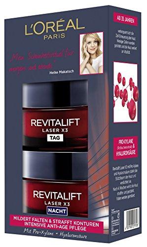 L'Oréal Paris Hyaluronsäure Tag und Nacht Gesichtspflege Geschenkset, Revitalift Laser x3 Anti-Aging Cremes gegen Falten -