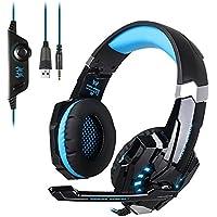 Cascos Gaming, [Regalo] EasySMX Gaming Auriculares Estéreo de Diadema con Micrófono para PC, PS4, MAC y Móvil Laptop con Luz LED y Cancelación de Ruido (Nero+Azul)