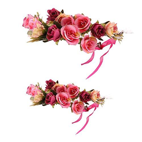 (Fenteer Baby Mädchen Damen Blumenkrone Girlande Haarband BlumenKränze Mutter und Tochter Haarschmuck Festival Hochzeit Haarkranz - Rosa Erwachsener Kinder)