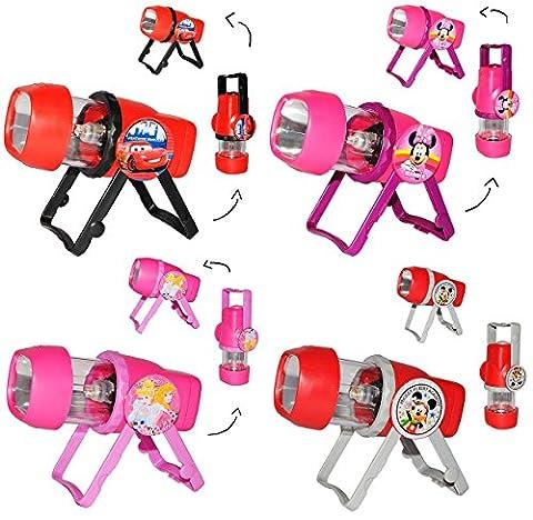 3 in 1: Kombi - Taschenlampe LED - für Jungen - zum Aufstellen oder als Tragelampe - für Kinder Lampe mit Projektor - Licht Auto Kindertaschenlampe - Cars - Micky Maus / Projektor Campinglampe - Kinderlampe - Tischlampe (Mickey Mouse Lampe)