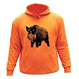 Pull Sweat de chasse,'Sanglier' Idée cadeau chasseur (7-8 ans, Orange)