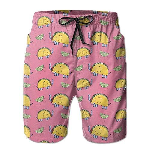 tyui7 Elefantes de Taco Hombres con Bolsillo Pantalones Cortos de Playa de...
