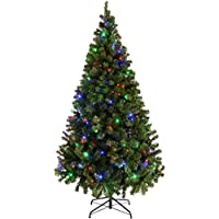 WeRChristmas Pre-Lit Spruce Multi-Function Christmas Tree, 2.1 m - 7 feet with 300-LED Lights, Multi-Colour