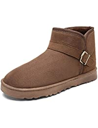 LFEU Männer Schnee Stiefel Plüsch Gefüttert Winter Unisex Warme Schuhe Paar  Schnalle Outdoor Wasserdichte Flache… dc8caf5736