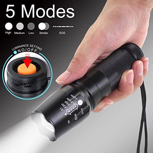 2Stück Tactical Taschenlampe, TopTen Fan-Motive 2000Lumen 5Leuchtmodi zoomable Camping LEDs Licht Taschenlampe für Angeln Jagd Wandern und Outdoor Aktivitäten -