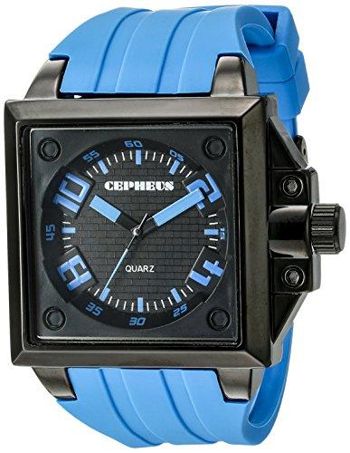 CEPHEUS CP904-623 - Reloj analógico de cuarzo para hombre con correa de silicona, color azul