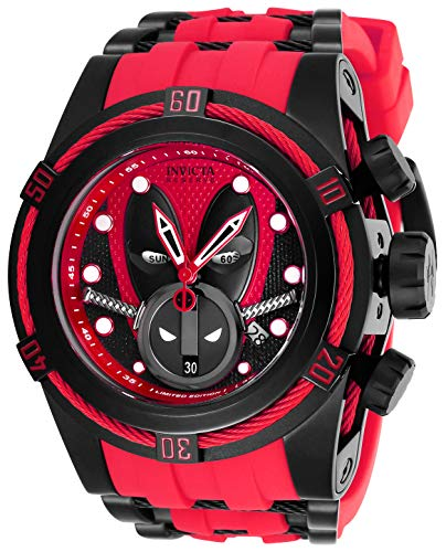 Invicta 27152 Reserve Men's 52mm Marvel Deadpool Bolt Zeus Limited Ed Swiss Ronda Z60 Chronograph Red Strap Watch
