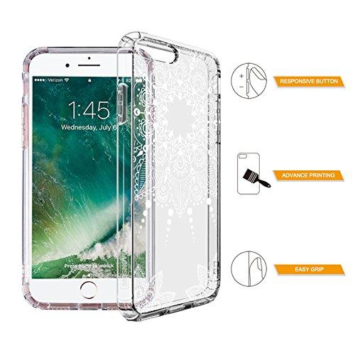 iPhone 7 Plus Hülle, MOSNOVO Weiß Henna Mandala Blumen Klar Entwurf TPU Bumper Rahmen mit Plastik Hart Case Durchsichtig Transparent Schutzhülle für Apple iPhone 7 Plus (5,5 Zoll), iPhone 7 Plus Case White Henna