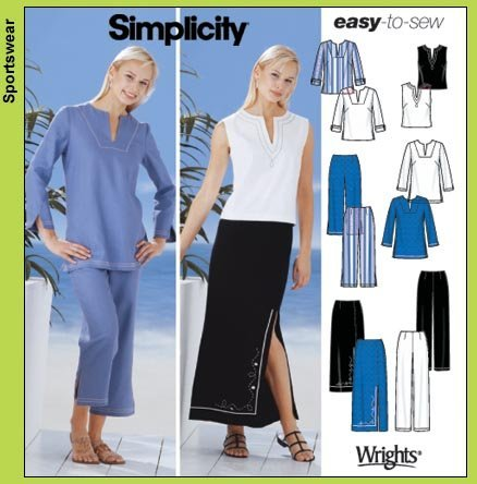 Simplicity Easy-to-Sew Pattern 5568 Women's Tunics, Top, Pants, Skirts, Crop Pants Sizes 20W-28W by WRIGHTS FOR SIMPLICITY