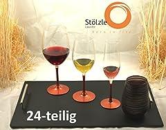 Idea Regalo - Stölzle Lausitz 24pezzi set bicchieri Bronzo ciascuno con 6lenti vino rosso vino bianco cristallo Champagne e bicchieri, Vetro, 250.618