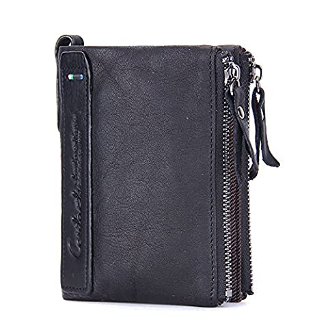 Contacts Mens Genuine Leather Bifold Double Zipper Coin Pocket Purse