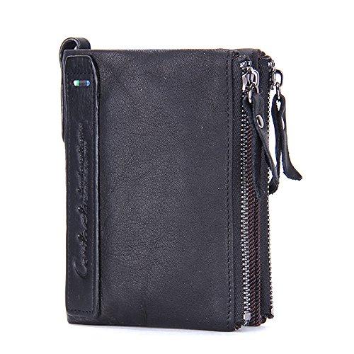 Contacts Herren Echtes Leder-Bifold Wallet Doppelreißverschlusstasche Geldbörse Schwarz (Leder Herren Bi-fold Wallet)
