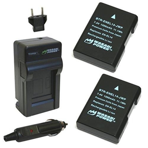 Wasabi Power kit-btr-enel14-dec-lch-enel14–01Auto/Indoor Schwarz Akku Ladegerät–Akku Ladegeräte (110–220, 1300mAh, 7,4V, schwarz, Auto/Garten battery charger, Nikon Coolpix P7000Nikon Coolpix P7100Nikon Coolpix P7700Nikon D3100Nikon D3200...)