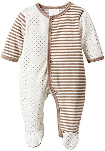 Twins Unisex Baby Schlafstrampler aus Velours mit Füßen, Gr. 62, Mehrfarbig (weiss/braun 730420)