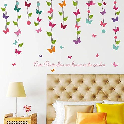 Moderne Blume Reben Schmetterling Wandaufkleber für Wohnzimmer Schlafzimmer Dekoration Wardrob Hintergrund Party Decals Kinderzimmer PVC