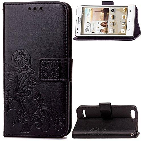 Huawei Ascend G6 Hülle, CaseFirst Lederhülle Stoßfest Handyhülle Geprägt Textur Ultra Dünn Schutzhülle Kratzfest Hülle Wallet Case mit Handy Halter & Card Slots (Schwarz)