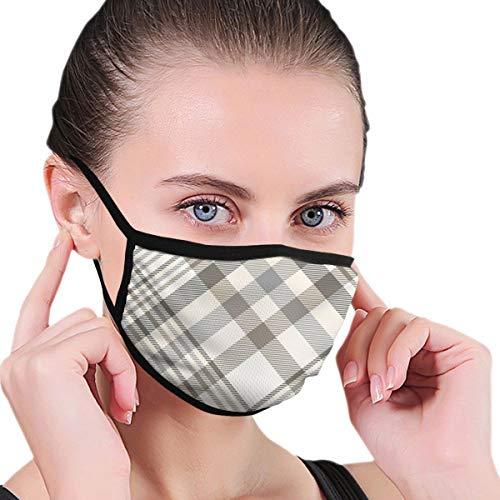 Máscara Patrón a Cuadros Crema Beige marrón Gris Máscara bucal, Máscara Suave de Media Cara de algodón, Máscara Biker, Máscara de protección contra el Polvo