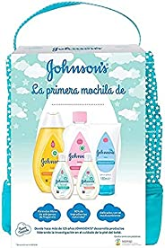 Johnson's Baby Set de Regalo Mi Primera Mochila, champú Clásico 300ml + Aceite Corporal 300ml + crema protecto
