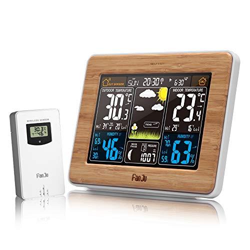 FanJu FJ3365W Funkwetterstation Funk mit Außensensor/Innen-/Außentemperatur und Luftfeuchtigkeit/Uhr / Mondphase/Uhren mit Thermometer