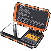 Brifit Digital Pocket Scale, (200 x 0.01g) Precision Mini Food Scales with 50g Calibration Weight, Potable Smart Scale with LCD Backlit, 6 Units, Tare Function, Stainless Steel (Battery Included)