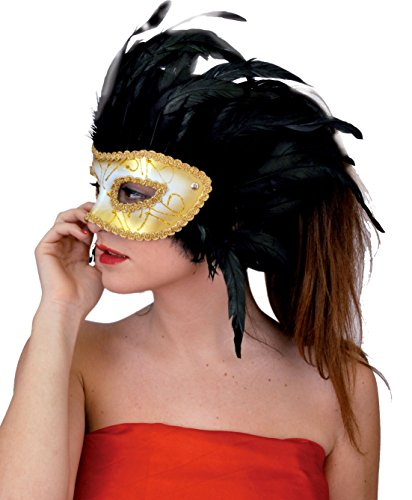 Ciao 74023-Maske Venezia Brautjungfer Gold mit schwarzen Federn, Gold/Schwarz