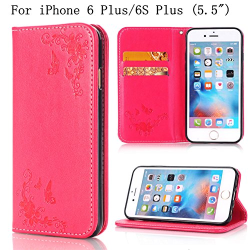"""iPhone 6s Plus Wallet Case, iPhone 6Plus 5.5"""" Case,Heyqie(TM) Embossing Butterfly Flower PU Leather Flip Folio Wallet Case with Card Holder for Apple iPhone 6 plus / 6s Plus 5.5"""" - Rose Gold Red"""