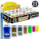 woohoo4u Profi Acryl-Farben Set 21 Farben je 20 ml Künstlerfarben mit 2 Pinsel inkl. Acrylfarben Metallic Gold, Kupfer, Silber, Glitzer Blau, Neon Farben, Leinwand bemalen, Holz, Ton, Papier