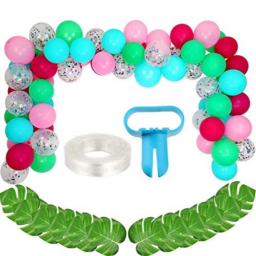 92 Stück DIY Luftballons Girlande Mit Blau Grün Pink Konfetti Luftballons, Hawaii Flamingo Tropical Motto Party Supplies Für Geburtstagsfeier Hawaii Luau Summer Beach Party