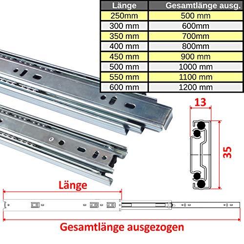 1 Paar 35 mm Teleskopschienen Schubladenschienen Schubladenauszug Vollauszug (Länge: 550 mm (1 Paar))
