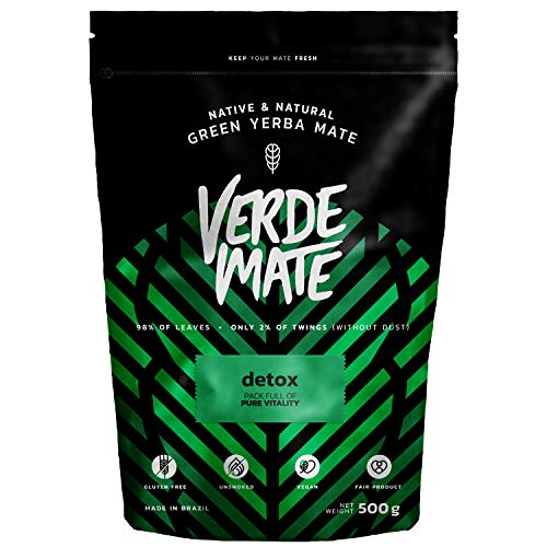 Yerba Verde Mate Green Detox Té 500g | Verde Mate Detox | Yerba Mate de Brasil | Alta Calidad | Yerba Mate Desintoxicante | Sin gluten | Sin Humo