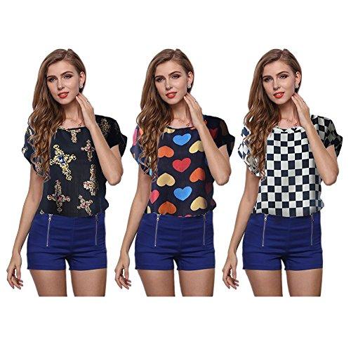 Occitop Fashion Women Short Sleeve Chiffon Tops Print Casual Summer T-Shirts Tees