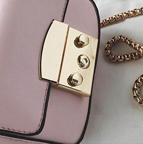 FZHLY Frühling Und Sommer-New-Verschluss Kleine Quadratische Tasche Mode-Kette Umhängetasche Black