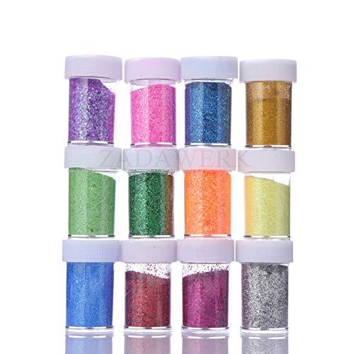 ZADAWERK® Glitzer - Neon - 32 ml je Farbe - 12 Farben