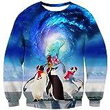 Goodstoworld Pullover Penguin Herren Damen 3D Ugly Christmas Sweater Hässlich Weihnachten Hemd Pinguin Unisex Weihnachtspullover XL