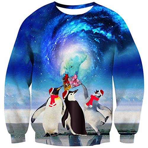 2cec6039b0 Goodstoworld 3D Pullover Penguin Männer Damen Ugly Christmas Sweater  Hässlich Weihnachten Jumper Pinguin Weihnachtspullover Witzig S