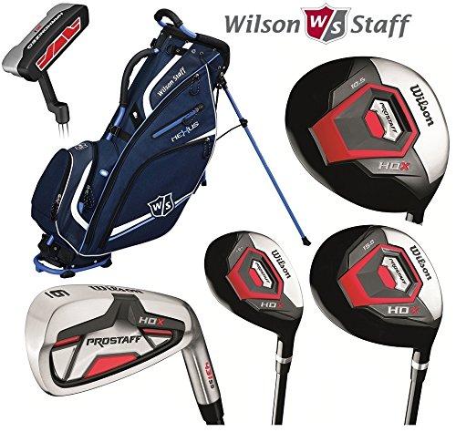 Wilson Prostaff HDX - Set completo da golf, bastoni con canna in grafite e borsa con supporto, da uomo, mano destra - Borse Grafite Stand