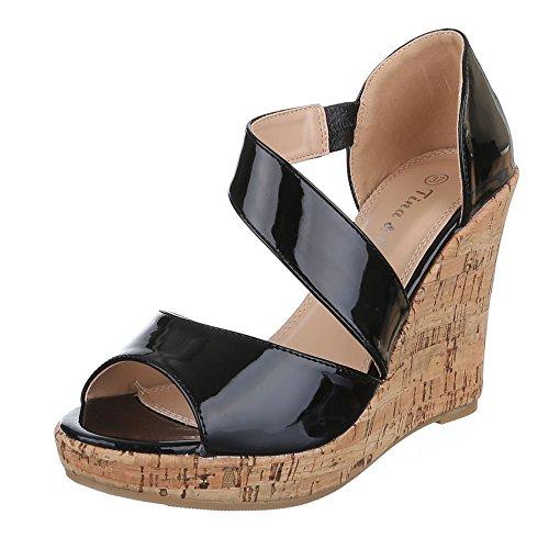 Damen Schuhe, B8012Y-SP, SANDALETTEN FRANSEN KEIL WEDGES PUMPS Schwarz
