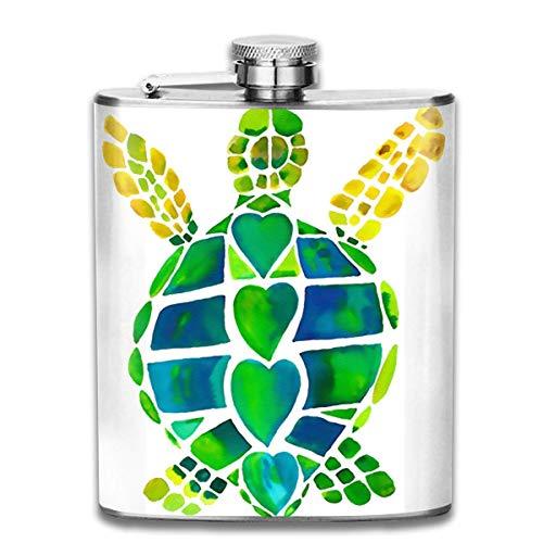 7 Unze Edelstahl Flasche personalisierte Flasche Aquarell Schildkröte Wein Flasche Rum Container Flasche Tasche für Erwachsene