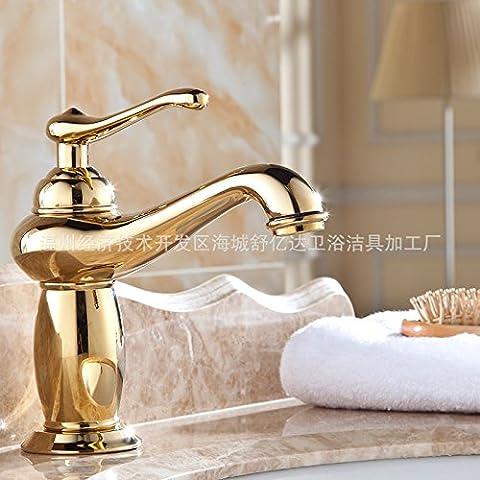 YJJ Europeo Rubio gabinete baño grifo de la colada fría y caliente cuenca agujero grifo de baño