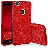 EGO Mobile Huawei P10 Lite Hülle Silikon Glitzer Tasche Glänzende Schutzhülle mit Glitter Design für Huawei P10 Lite Case Cover Rot