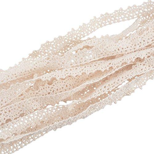 Souarts Femme Ruban Dentelle Ciselé Décoratif Coton pour Couture Scrapbooking Accueil Bricolage Craft Beige 14mm 10 Yards